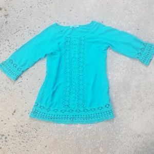 Solitaire Swim teal crochet coverup tunic